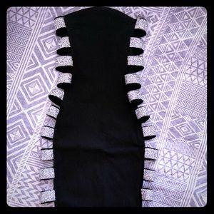 Fashion Nova Black Dress/Sparkly Open Strap Sides